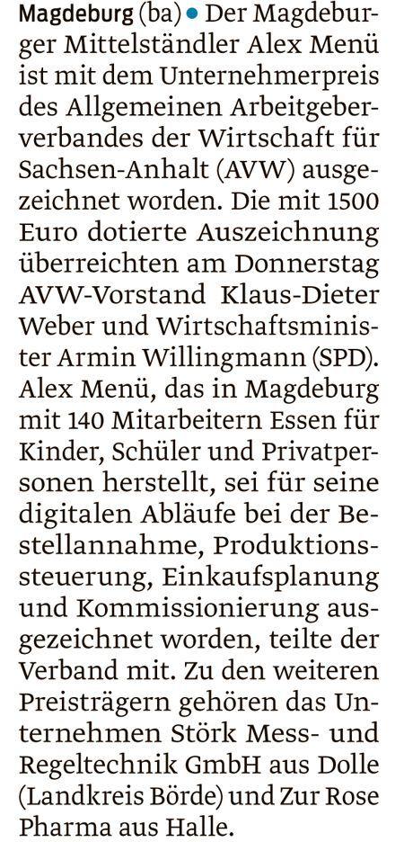 AVW-Unternehmerpreis Beitrag Volksstimme 1