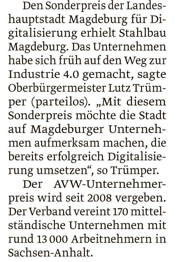 AVW-Unternehmerpreis Beitrag Volksstimme 2