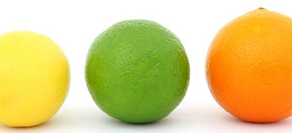 Zitrone, Limette und Orange