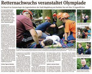 Beitrag Volksstimme: ALEXMENÜ sponserte Mittagessen für das Sommerlager der Kinderfeuerwehren Magdeburg