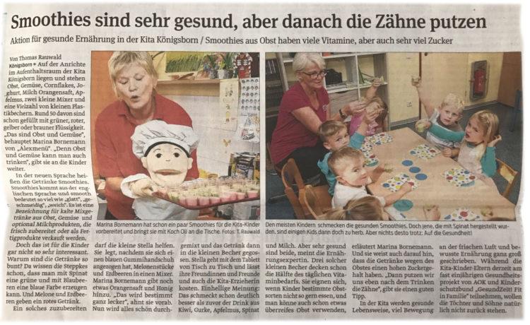 """Beitrag in der Schönebecker Volksstimme zum Projekt """"Smoothies"""" von ALEXMENÜ"""