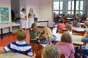 Das ALEXMENÜ-Team bedankt sich mit Hopsi und Klopsi Buttons und Rezeptheften bei den Kindern für´s Mitmachen