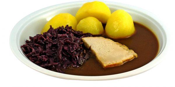 1123 Schweinebraten mit Bratensauce, Rotkohl und Kartoffeln