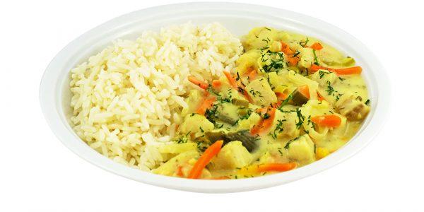 2171 Fischpfanne Seelachwürfen in Senfsuce mit Gemüseeinlage und Reis
