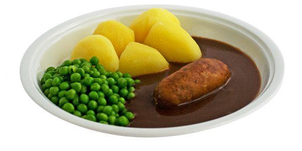 2715 Bratwurst mit Bratensauce, Buttererbsen und Kartoffeln