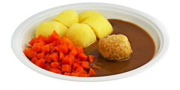 2761 Geflügelbällchen mit Geflügelsauce, Buttermöhren und Kartoffeln