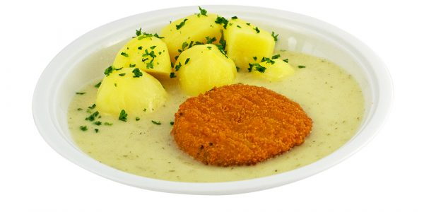 2768 Fischburger mit Dillsauce und Kartoffeln