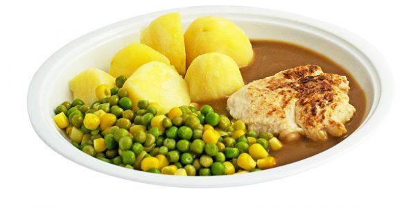 3000 Gebratene Hähnenbrust mit Geflügelsauce, Erbsen-Maisgemüse und Kartoffeln