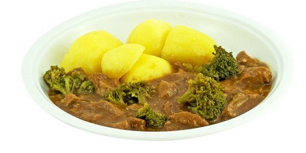 3063 Putengeschnetzeltes mit Brokkolieinlage und Kartoffeln