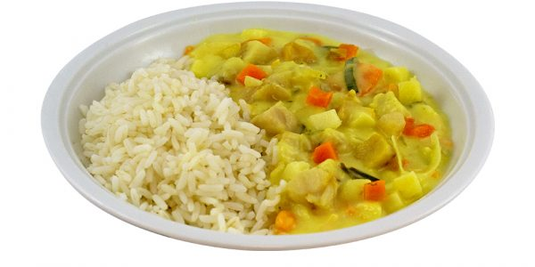 3069 Fruchtiges Fischcurry Seelachswürfel mit Lauch, Apfel und Kokosmilch, dazu Reis