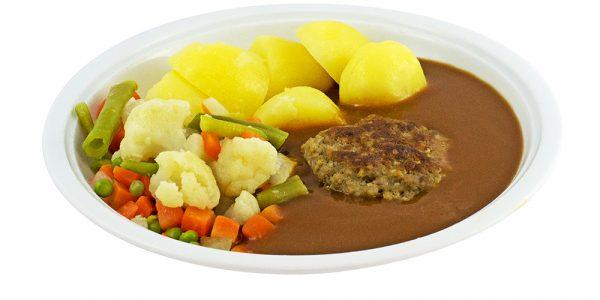 3094 Boulette mit Rahmsauce, Sommergemüse und Kartoffeln