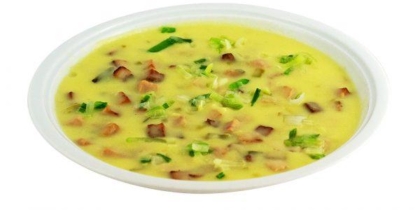 3114 Kartoffel-Lauchsuppe mit gebratenen Wurstwürfeln