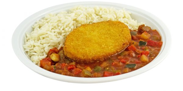 3273 Blumenkohl-Käsebratling mit Ratatouillegemüse und Reis