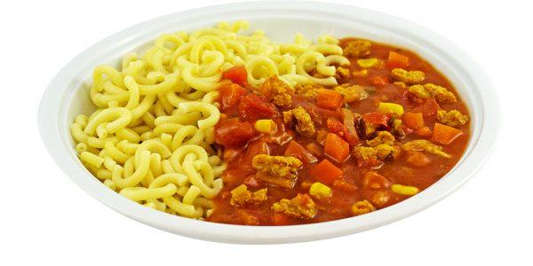 3287 Nudeln mit Soja-Bolognese, Sojageschnetzeltes in Tomaten-Gemüsesauce