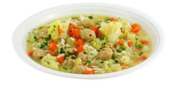 3353 Reissuppe mit Gemüseinlage und Fleischklößchen