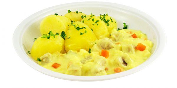 3354 Fruchtiges Fischcurry, Seelachswürfel mit Lauch, Apfel und Kokosmilch, dazu Kartoffeln