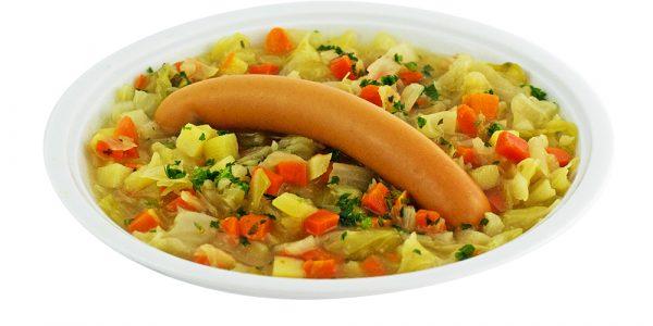3356 Spitzkohleintopf mit Möhren- und Kartoffeleinlage, dazu Geflügel-Wiener Würstchen
