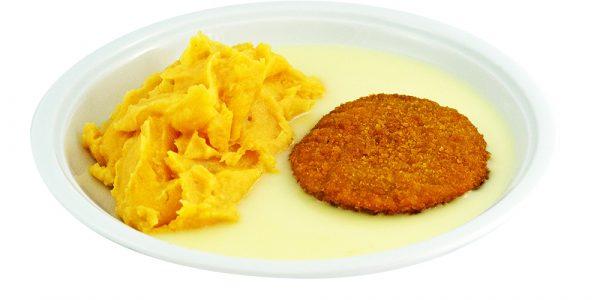 3368 Fischburger mit Zitronen-Buttersauce und Kartoffel-Möhrenpüree