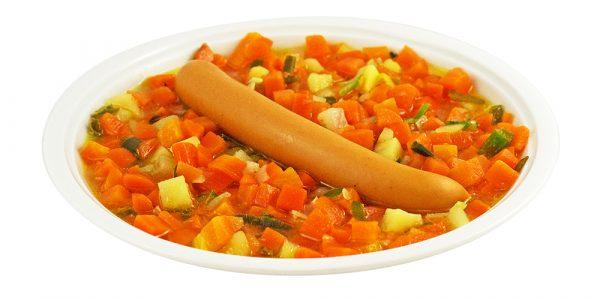 3369 Möhreneintopf mit Kartoffeleinlage und Geflügel-Wiener Würstchen