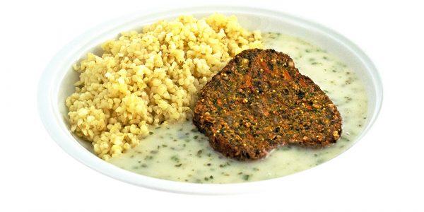 3370 Spinat-Karottenbratling mit Kräutersauce und Bulgur
