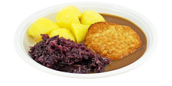 3400 Gebratene Putenbrust mit Geflügelsauce, Rotkohl und Kartoffeln