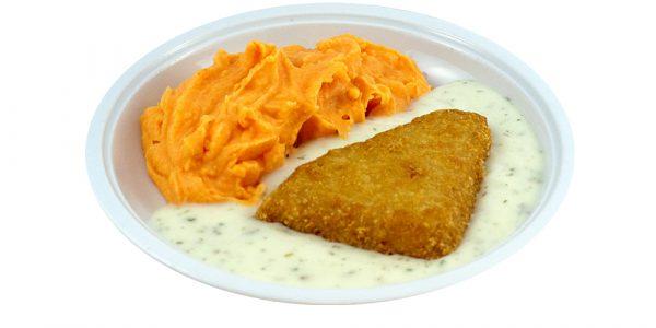 3468 Fischfilet im Backteig mit Dillsauce und Möhren-Kartoffelpüree