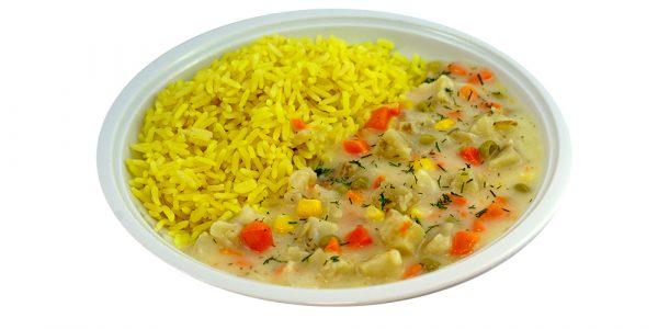 4290 Seefischpfanne, Seelachswürfel in heller Dill-Rahmsauce mit Gemüse und Zitronenreis