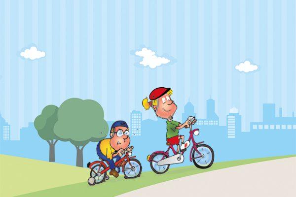 Hopsi und Klopsi fahren in ihrer Freizeit gerne mit dem Rad durch die Natur.