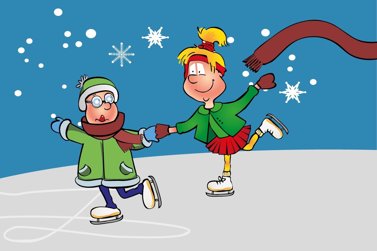 Hopsi und Klopsi genießen das Winterwetter und laufen Schlittschuh
