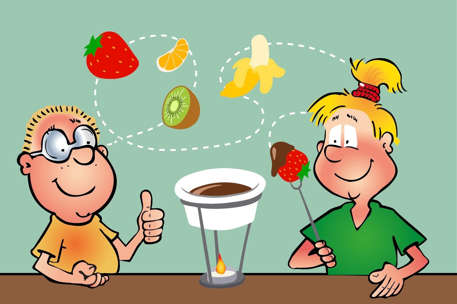 Hopsi und Klopsi bereiten ihr erstes Schoko-Fondue zu