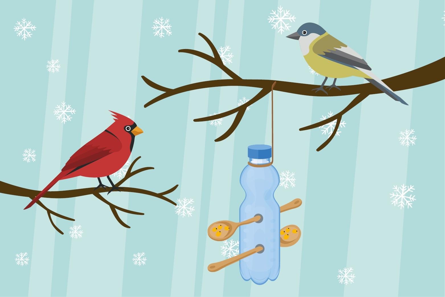 Hopsi und Klopsi bauen ein Futterhäuschen für die Vögel in ihrem Garten.