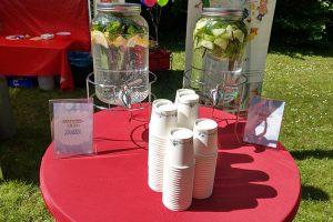Eine Erfrischung für alle Besucher - Zitrone-Minz-Wasser und Gurke-Minz-Wasser