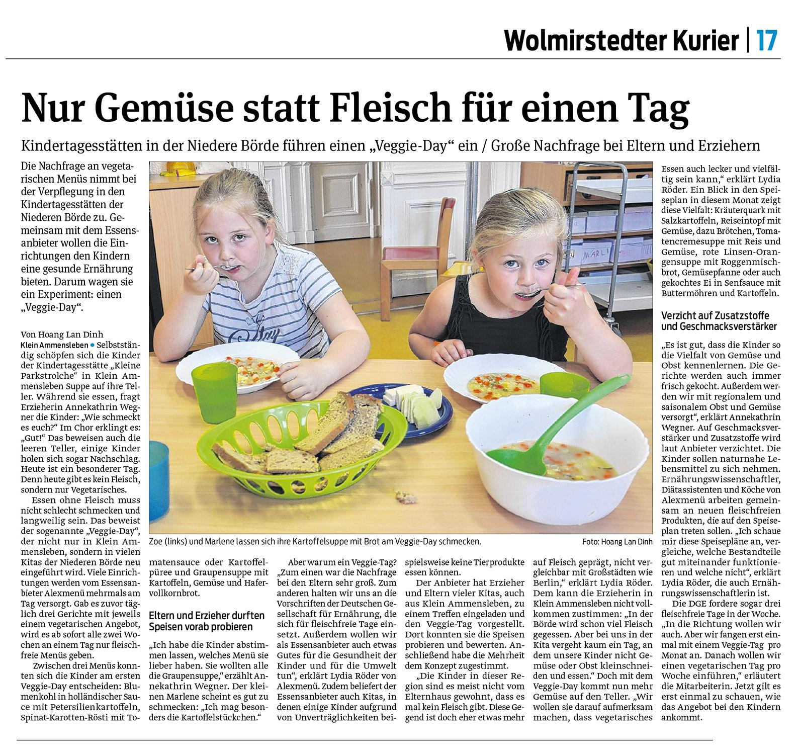 2019-07-05 Artikel Volksstimme Wolmirstedt Nur Gemüse statt Fleisch für einen Tag