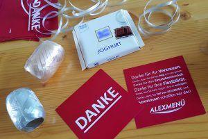 Kleines Dankeschön für die Mitarbeiterinnen und Mitarbeiter von ALEXMENÜ