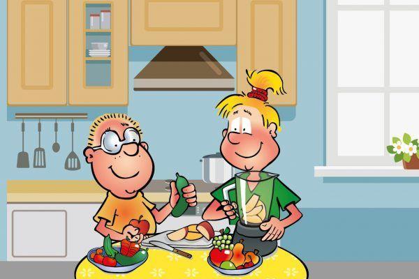 Hopsi und Klopsi experimentieren in der Küche und entwickeln Rezepte für Smoothies.