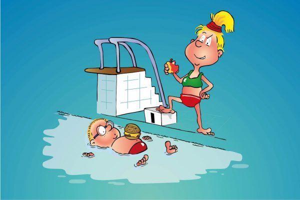Hopsi und Klopsi lieben es im Freibad mit ihren Freunden zu baden.