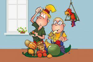 Wisst ihr, was exotische Früchte sind? Hopsi erklärt ihrem Bruder, wo diese herkommen.
