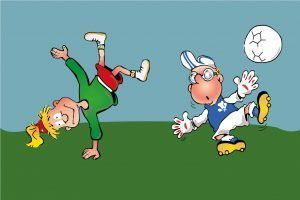 Hopsi und Klopsi turnen gerne in ihrer Freizeit und spielen gemeinsam Fußball.