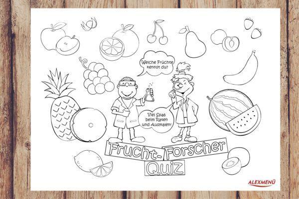 Ausmalbild Frucht Forscher Quiz