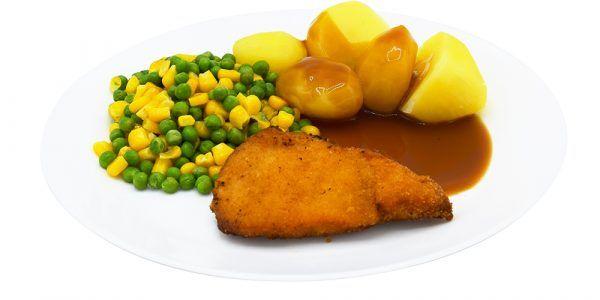 Hähnchenschnitzel mit Geflügelsauce, Erbsen-Maisgemüse und Salzkartoffeln