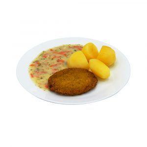 Blumenkohl-Käsebratling und Kräutersauce mit Gemüsestreifen dazu Salzkartoffeln