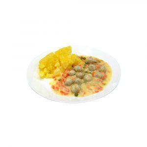 Geflügelfleischklößchen, Erbsen und Möhren in heller Sauce, dazu Salzkartoffeln