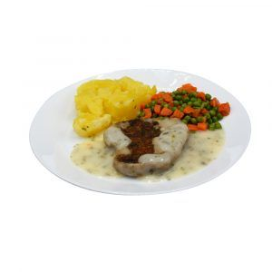 Spinat-Karotten-Bratling mit Kräutersahnesauce, Mischgemüse und Salzkartoffeln
