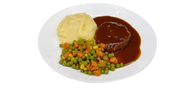 Panierte Jagdwurstscheibe mit Rahmsauce, Erbsen-Möhren-Maisgemüse und Kartoffelpüree