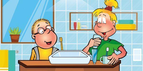 Hopsi und Klopsi beim Zähneputzen