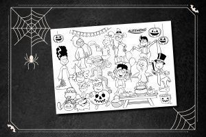 Ausmalbild Hopsi und Klopsi Halloween-Party
